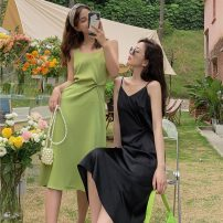 Dress Summer 2021 Green, black M (90-110kg), l (110-130kg) Mid length dress singleton  Sleeveless commute V-neck High waist Solid color Socket A-line skirt other camisole 18-24 years old Type A Other / other Korean version W0406 31% (inclusive) - 50% (inclusive) other