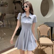 Dress Summer 2021 Grey, white S, M Short skirt singleton  Short sleeve commute Polo collar High waist Socket A-line skirt 18-24 years old Type A Other / other Korean version pocket 0407Y 31% (inclusive) - 50% (inclusive)