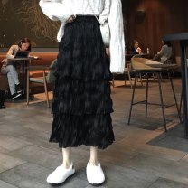 skirt Spring 2021 Average size White, black Mid length dress commute High waist Cake skirt Solid color Type A 18-24 years old 1216j 30% and below other Other / other other Korean version