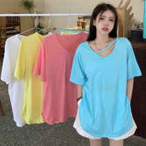 T-shirt The lake is blue, white, yellow and pink Average size Summer 2021 Short sleeve Crew neck easy Medium length commute other 31% (inclusive) - 50% (inclusive) 18-24 years old Korean version Other / other 0417Y