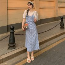 Dress Spring 2021 S, M Mid length dress Two piece set Sleeveless commute V-neck High waist Solid color Socket A-line skirt camisole 18-24 years old Type A Other / other Korean version 30% and below other