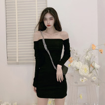 Dress Spring 2021 black Average size Short skirt singleton  Long sleeves commute One word collar High waist Solid color Socket One pace skirt routine Others 18-24 years old Type A Other / other Korean version backless 0128M 31% (inclusive) - 50% (inclusive) other