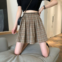skirt Summer 2021 Average size Grey, brown Short skirt commute High waist Pleated skirt lattice Type A 18-24 years old 0417L 30% and below other Other / other Korean version