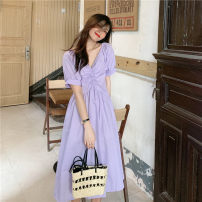 Dress Spring 2021 Purple top, white top, pink top, purple dress, white dress, pink dress Average size Mid length dress singleton  Short sleeve commute V-neck High waist Solid color Socket Big swing puff sleeve Others 18-24 years old Type A Other / other Korean version 0330Y