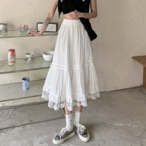 skirt Spring 2021 Average size White, black Mid length dress commute High waist A-line skirt Solid color Type A 18-24 years old W0401 30% and below other Other / other other Splicing Korean version