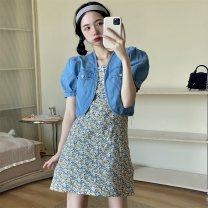 Dress Summer 2021 Floral suspender skirt, denim jacket S, M Short skirt Two piece set Short sleeve commute 18-24 years old Other / other Korean version 0417L 30% and below other