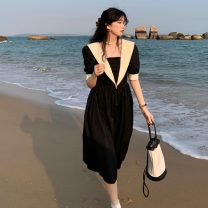 Dress Spring 2021 Khaki, black Average size Mid length dress singleton  Short sleeve commute High waist Socket A-line skirt puff sleeve 18-24 years old Type A Other / other Korean version 0401Y 31% (inclusive) - 50% (inclusive)