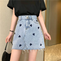 skirt Spring 2021 S,M,L,XL wathet Short skirt commute High waist A-line skirt Type A 18-24 years old 0402Y 31% (inclusive) - 50% (inclusive) Other / other tassels Korean version