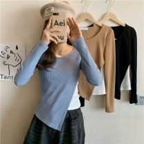 T-shirt Blue, black, brown Average size Spring 2021 Long sleeves Crew neck Fake two pieces Regular routine commute other 30% and below 18-24 years old Korean version Other / other W0403