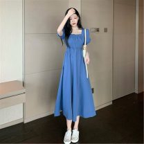Dress Spring 2021 Light blue, dark blue Average size Mid length dress singleton  Short sleeve commute square neck High waist Solid color Socket A-line skirt routine Others 18-24 years old Type A Other / other Korean version 0315M 31% (inclusive) - 50% (inclusive) other