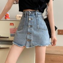skirt Summer 2021 S,M,L,XL blue Short skirt commute High waist A-line skirt Type A 18-24 years old 0407L 30% and below other Other / other Korean version