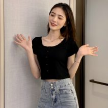 T-shirt Average size Spring 2021 Short sleeve Crew neck Self cultivation have cash less than that is registered in the accounts routine commute other 30% and below 18-24 years old Korean version Solid color Other / other W0330