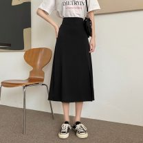 skirt Spring 2021 Average size Dark blue, white, black Mid length dress commute High waist A-line skirt Type A 18-24 years old 0402L 30% and below other Other / other Korean version