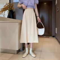 skirt Spring 2021 S,M,L Apricot, light green, pink, black Mid length dress commute High waist A-line skirt Solid color Type A 18-24 years old 0401L 30% and below other Other / other Korean version