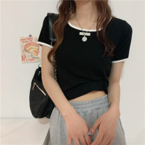 T-shirt Khaki, gray, white, black Average size Spring 2021 Short sleeve square neck Self cultivation have cash less than that is registered in the accounts commute other 31% (inclusive) - 50% (inclusive) 18-24 years old Korean version Color matching Other / other 0321Y
