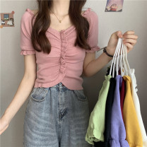 T-shirt White, purple, red, green, yellow, black, pink Average size Spring 2021 Short sleeve V-neck Self cultivation have cash less than that is registered in the accounts commute other 31% (inclusive) - 50% (inclusive) 18-24 years old Korean version Other / other 0327Y