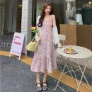 Dress Summer 2021 Purple suspender skirt, blue suspender skirt, yellow cardigan, white cardigan S. M, average size longuette Two piece set Sleeveless commute other Broken flowers camisole 18-24 years old Other / other Korean version 0410L 30% and below other