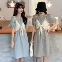 Dress Summer 2021 Light blue, black Average size Middle-skirt Two piece set Short sleeve commute Crew neck Elastic waist lattice Socket A-line skirt puff sleeve 18-24 years old Type A Other / other Korean version 30% and below other