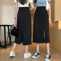 skirt Summer 2021 S,M,L Front split, rear split Mid length dress commute High waist skirt Solid color Type A 18-24 years old 0411L 30% and below other Other / other Korean version