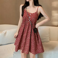 Dress Spring 2021 Red, blue Average size Short skirt singleton  Sleeveless commute High waist Broken flowers Socket A-line skirt camisole 18-24 years old Type A Other / other Korean version 0314Y 31% (inclusive) - 50% (inclusive) other