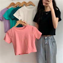 T-shirt White, purple, green, blue, black, pink Average size Spring 2021 Short sleeve Crew neck easy have cash less than that is registered in the accounts commute other 30% and below 18-24 years old Korean version Other / other 0312L