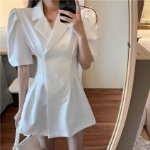 Dress Summer 2021 White, black S, M Short skirt singleton  Short sleeve commute tailored collar High waist Solid color double-breasted A-line skirt routine Others 18-24 years old Type A Other / other Korean version Button 0415T 31% (inclusive) - 50% (inclusive) other