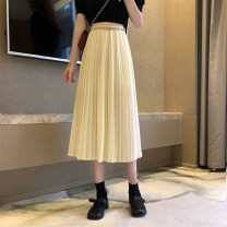 skirt Spring 2021 S,M,L Apricot, black Mid length dress commute High waist A-line skirt Type A 18-24 years old 0403L 30% and below other Other / other Korean version