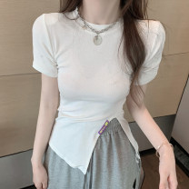 T-shirt White, black Average size Spring 2021 Short sleeve Crew neck Self cultivation Regular commute other 30% and below 18-24 years old Korean version Other / other 0314L