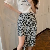 skirt Summer 2021 S,M,L Leopard skirt Mid length dress commute High waist Irregular Leopard Print Type A 18-24 years old W0417 30% and below other Other / other Korean version