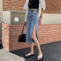 skirt Summer 2021 S,M,L Blue, black Mid length dress commute High waist A-line skirt 18-24 years old 0414L 30% and below other Other / other Korean version