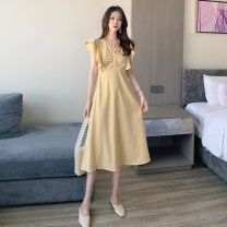 Dress Summer 2021 Green, yellow Average size Mid length dress singleton  Sleeveless commute V-neck High waist Socket A-line skirt Others 18-24 years old Type A Other / other Korean version 0406Y 30% and below other