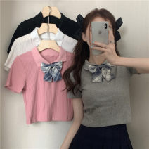 T-shirt Gray, white, pink, black Average size Summer 2021 Short sleeve Polo collar Self cultivation have cash less than that is registered in the accounts commute other 30% and below 18-24 years old Korean version Other / other 0418L