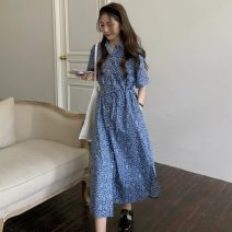 Dress Summer 2021 Apricot, blue Average size Mid length dress singleton  Short sleeve commute Broken flowers Others 18-24 years old Other / other Korean version 0411L 30% and below other