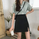 skirt Summer 2020 S,M,L,XL Apricot, black Short skirt Versatile High waist A-line skirt Solid color Type A 18-24 years old 0120C More than 95% Other / other polyester fiber