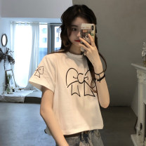 T-shirt White, black Average size Spring 2021 Short sleeve Crew neck Self cultivation have cash less than that is registered in the accounts routine commute other 31% (inclusive) - 50% (inclusive) 18-24 years old Korean version youth Cartoon animation Other / other 0314M printing
