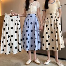 skirt Summer 2021 Average size Apricot, white, blue Mid length dress commute High waist A-line skirt Dot Type A 18-24 years old 0418M 31% (inclusive) - 50% (inclusive) other Other / other Korean version