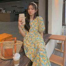 Dress Summer 2021 Purple, yellow Average size Mid length dress singleton  Short sleeve commute Crew neck High waist Broken flowers Socket A-line skirt puff sleeve Others 18-24 years old Type A Other / other Korean version 0409Y 31% (inclusive) - 50% (inclusive)