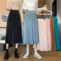 skirt Spring 2021 Average size Coffee, apricot, light blue, pink, green, black Mid length dress commute High waist Pleated skirt Solid color Type A 18-24 years old W0111 30% and below other Other / other other Korean version