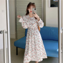 Dress Autumn 2020 White, green, black Average size Mid length dress singleton  Long sleeves commute V-neck Elastic waist Decor Socket Big swing Lotus leaf sleeve Others 18-24 years old Type A Other / other Korean version H0822 30% and below other