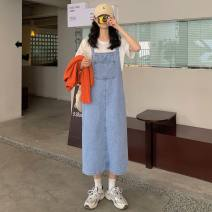 Dress Spring 2021 blue S,M,L Mid length dress singleton  Sleeveless commute High waist Socket A-line skirt straps 18-24 years old Type H Other / other Korean version 0311Y 31% (inclusive) - 50% (inclusive) other
