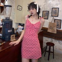 Dress Spring 2021 gules S,M,L Short skirt singleton  Sleeveless commute V-neck High waist Dot Socket A-line skirt routine camisole 18-24 years old Type A Other / other Korean version backless W0402 30% and below other