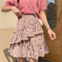 skirt Spring 2021 Average size Pink, yellow Short skirt commute High waist A-line skirt Broken flowers Type A 18-24 years old 0329L 30% and below other Other / other Korean version