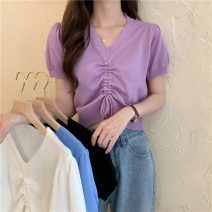 Wool knitwear Summer 2021 Average size White, purple, blue, black Short sleeve singleton  Socket other 31% (inclusive) - 50% (inclusive) have cash less than that is registered in the accounts Thin money commute Self cultivation V-neck routine Solid color Socket Korean version W0414 18-24 years old