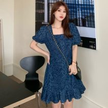 Dress Spring 2021 blue S,M,L Short skirt singleton  Short sleeve commute square neck High waist Leopard Print zipper A-line skirt puff sleeve 18-24 years old Type A Other / other Korean version pocket W0402 30% and below other