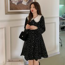 Dress Summer 2021 Picture color S, M Middle-skirt singleton  Long sleeves commute Doll Collar High waist Broken flowers Socket A-line skirt routine 18-24 years old Type A Other / other Korean version Button W0413 30% and below other other