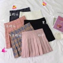 skirt Spring 2021 S,M,L White, pink, black, gray grid, Navy grid, pink grid Short skirt commute High waist Pleated skirt lattice Type A 18-24 years old 0421@ 71% (inclusive) - 80% (inclusive) other Other / other polyester fiber fold Korean version