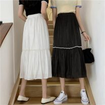 skirt Summer 2021 Average size White, black Mid length dress commute High waist Pleated skirt Solid color Type A 18-24 years old W0413 30% and below other Other / other fold Korean version