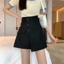 skirt Summer 2021 S,M,L White, black Short skirt commute Natural waist A-line skirt Solid color Type A 18-24 years old W0418 30% and below other Other / other Korean version