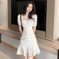 Dress Spring 2021 white S,M,L Short skirt singleton  Short sleeve commute square neck High waist Solid color Socket Ruffle Skirt puff sleeve 18-24 years old Type A Other / other Korean version W0326 30% and below other