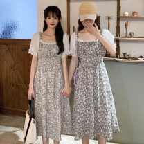 Dress Spring 2021 Average size Mid length dress singleton  Short sleeve commute square neck Elastic waist Broken flowers Socket other puff sleeve Others 18-24 years old Type A Other / other Korean version Splicing 0320R 30% and below Chiffon